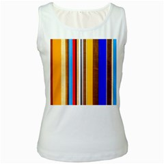 Colorful Stripes Women s White Tank Top