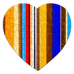 Colorful Stripes Jigsaw Puzzle (heart) by FunnyCow
