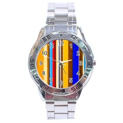 Colorful Stripes Stainless Steel Analogue Watch