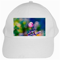 Pink Rose Flower White Cap by FunnyCow