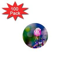 Pink Rose Flower 1  Mini Magnets (100 Pack)