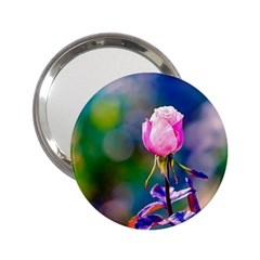 Pink Rose Flower 2 25  Handbag Mirrors by FunnyCow