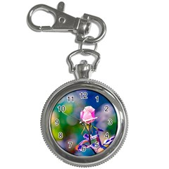 Pink Rose Flower Key Chain Watches