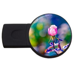 Pink Rose Flower Usb Flash Drive Round (2 Gb) by FunnyCow