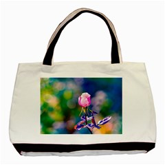 Pink Rose Flower Basic Tote Bag by FunnyCow