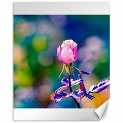 Pink Rose Flower Canvas 11  X 14   by FunnyCow