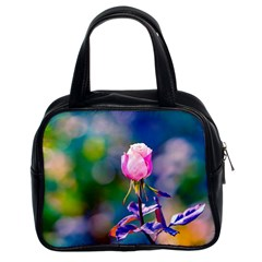Pink Rose Flower Classic Handbags (2 Sides) by FunnyCow