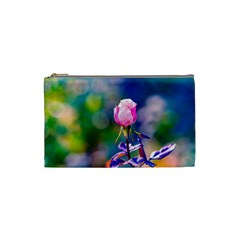 Pink Rose Flower Cosmetic Bag (small)