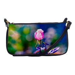 Pink Rose Flower Shoulder Clutch Bags by FunnyCow