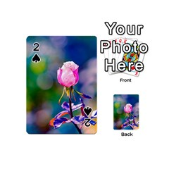Pink Rose Flower Playing Cards 54 (mini)  by FunnyCow