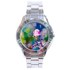 Pink Rose Flower Stainless Steel Analogue Watch