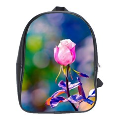 Pink Rose Flower School Bag (xl) by FunnyCow