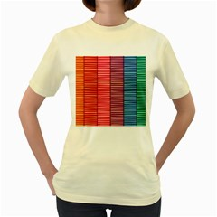 Background Colorful Abstract Women s Yellow T Shirt