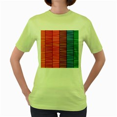 Background Colorful Abstract Women s Green T Shirt