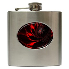 Abstract Curve Dark Flame Pattern Hip Flask (6 Oz)