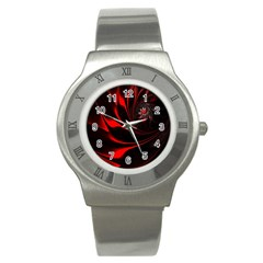Abstract Curve Dark Flame Pattern Stainless Steel Watch