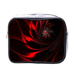 Abstract Curve Dark Flame Pattern Mini Toiletries Bags