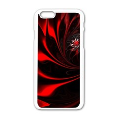 Abstract Curve Dark Flame Pattern Apple Iphone 6/6s White Enamel Case