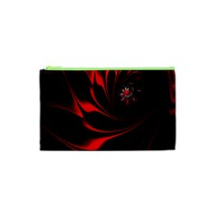 Abstract Curve Dark Flame Pattern Cosmetic Bag (xs)