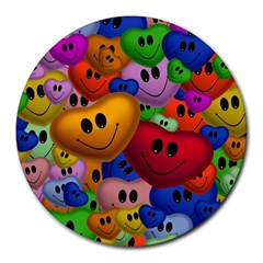 Heart Love Smile Smilie Round Mousepads