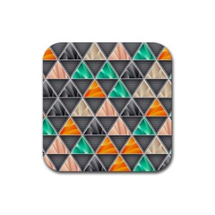 Abstract Geometric Triangle Shape Rubber Square Coaster (4 Pack)