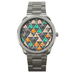 Abstract Geometric Triangle Shape Sport Metal Watch