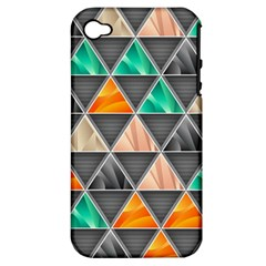 Abstract Geometric Triangle Shape Apple Iphone 4/4s Hardshell Case (pc+silicone)