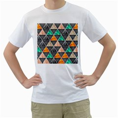 Abstract Geometric Triangle Shape Men s T Shirt (white)