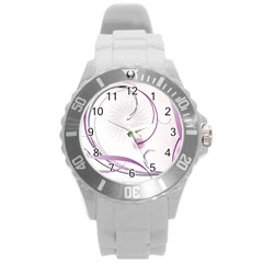 Abstract Background Flowers Round Plastic Sport Watch (l)