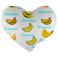 Bananas Large 19  Premium Flano Heart Shape Cushions by cypryanus