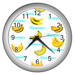 Bananas Wall Clocks (silver)  by cypryanus