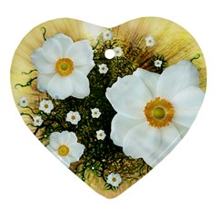 Summer Anemone Sylvestris Ornament (heart) by Nexatart