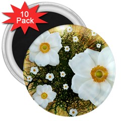 Summer Anemone Sylvestris 3  Magnets (10 Pack)  by Nexatart