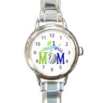 #1 VOLLEYBALL MOM MOTHER ROUND ITALIAN CHARM WATCH