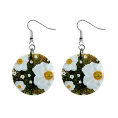 Summer Anemone Sylvestris Mini Button Earrings