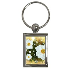 Summer Anemone Sylvestris Key Chains (rectangle)  by Nexatart