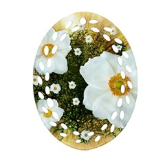 Summer Anemone Sylvestris Oval Filigree Ornament (two Sides) by Nexatart
