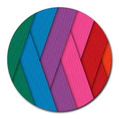 Abstract Background Colorful Strips Round Mousepads by Nexatart