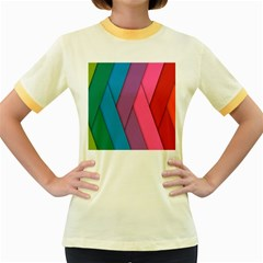 Abstract Background Colorful Strips Women s Fitted Ringer T Shirts
