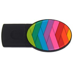 Abstract Background Colorful Strips Usb Flash Drive Oval (2 Gb)
