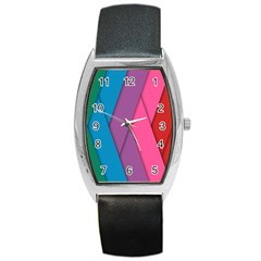 Abstract Background Colorful Strips Barrel Style Metal Watch by Nexatart