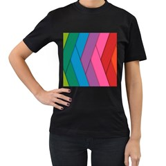Abstract Background Colorful Strips Women s T Shirt (black) (two Sided)