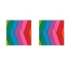 Abstract Background Colorful Strips Cufflinks (square)