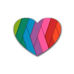 Abstract Background Colorful Strips Rubber Coaster (heart)