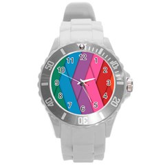 Abstract Background Colorful Strips Round Plastic Sport Watch (l)
