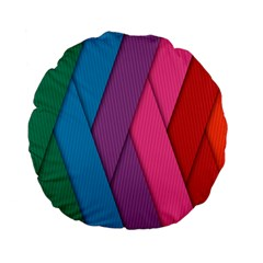 Abstract Background Colorful Strips Standard 15  Premium Flano Round Cushions