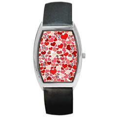 Abstract Background Decoration Hearts Love Barrel Style Metal Watch