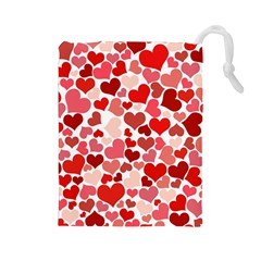 Abstract Background Decoration Hearts Love Drawstring Pouches (large)