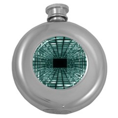 Abstract Perspective Background Round Hip Flask (5 Oz)