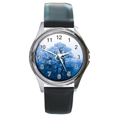 Nature Inspiration Trees Blue Round Metal Watch